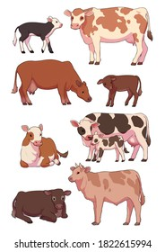 An illustration of various cows and calves