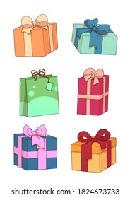 illustration of various gifts and packages