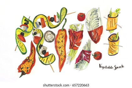 illustration of vegetable party snacks
