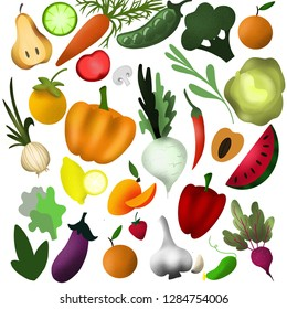 illustration with vegetables, fruits, berries. Vegan food