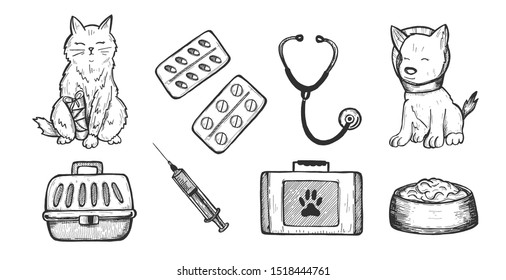 illustration of veterinarian clinic doctor icons. Cat, dog, medication pills, stethoscope, food, carrier basket, doctors tools case or toolbox. Vintage hand drawn style.