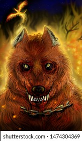 Illustration of a vicious werewolf with ginger fur with a background of flames and a phoenix flying