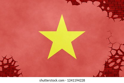 Illustration of a Vietnamese flag, imitation of a painting on the cracked wall