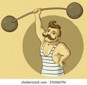 illustration of vintage circus strongman holding barbell