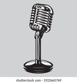 Illustration with vintage microphone on the background
