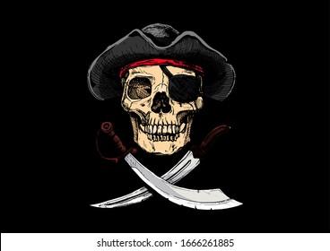 illustration of  Vintage pirate flag, Jolly Roger.