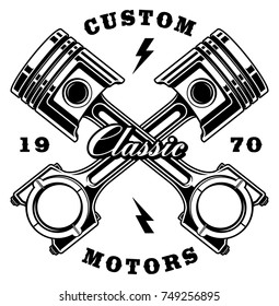 Illustration of vintage pistons (RASTER VERSION ON WHITE BACKGROUND)