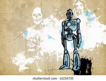 Illustration of a vintage robot on a grunge background