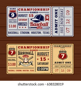 illustration for vintage tickets to the championship baseball and softball