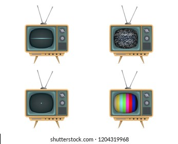 illustration of vintage tv set, television. Turning on, off, white noise, test card, start-up closedown test. Retro electric video display for broadcasting, news. Technology icons
