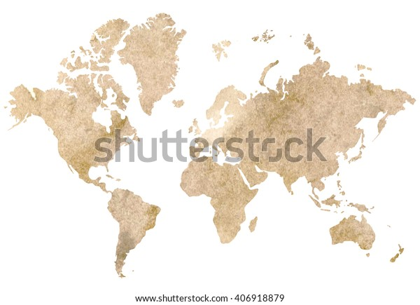 Illustration Vintage World Map Brown Watercolor Stock Illustration