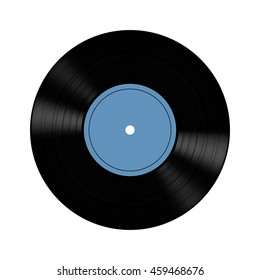 Illustration of vinyl record on gray background.