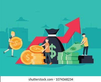 illustration of virtual business assistant. money, cards investment management. Graphic design business concept. Finance productivity graph, return on investment chart or budget planning