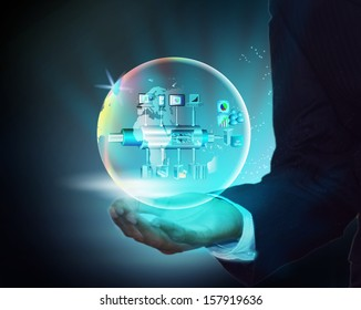 Illustration of a Virtual Enterprise Service Bus inside a globe in a business man hand