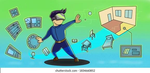 illustration of virtual reality interior presentation, interactive design simulation in banner size