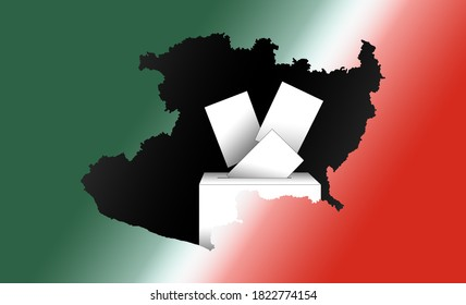illustration of voting papers and a ballot box with the map of the State of Michoacan