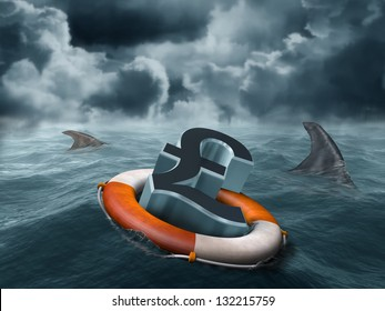 Illustration of a vulnerable sterling pound being circled by sharks
