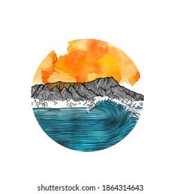 Illustration of Waikiki under sunset