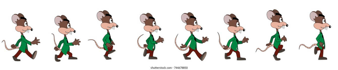 Illustration of a walking mouse in different phases of the walk cycle, can be compiled into an animation,