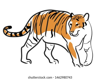 Illustration of a walking tiger
