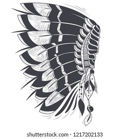 illustration of war bonnet, native traditional headdress of american indians with eagle feathers, isolated on background. Hand drawn black and white artwork, tattoo art, print for t-shirt
