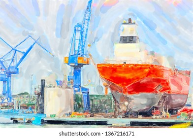 Illustration of Warnemunde shipyard at Rockstock Baltic sea harbor. Canes around the industrial ship.