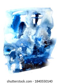 Illustration of a Watercolor abstract print on a white sheet. An example for a design or interior design