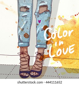 Illustration Watercolor and Collage: Woman legs in shoes