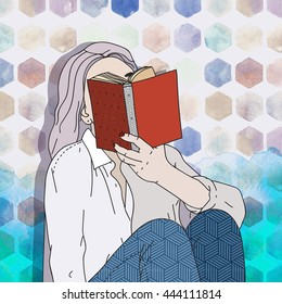 Illustration Watercolor and Collage: Woman reading a book