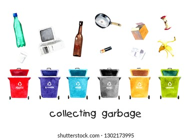 illustration watercolor for collecting garbage