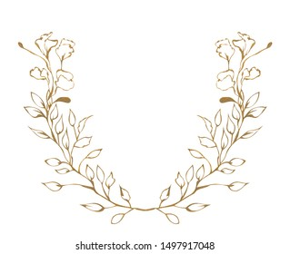 Illustration of watercolor drawing golden contours of plant leaves on a white isolated background in the form of a floral semi circle
