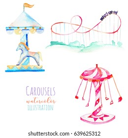 Illustration with watercolor elements of amusement park, hand drawn isolated on a white background, carousels