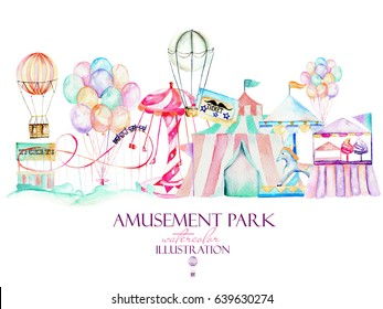 Illustration with watercolor elements of amusement park, hand drawn isolated on a white background, decor print, can be used for the logo, symbol, mark