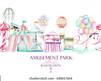 Illustration with watercolor elements of amusement park, hand drawn isolated on a white background, decor print