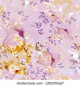 Illustration watercolor field sketches of delicate tropical wildflowers. Seamless pattern. Тhe chinese motive -EEE.
