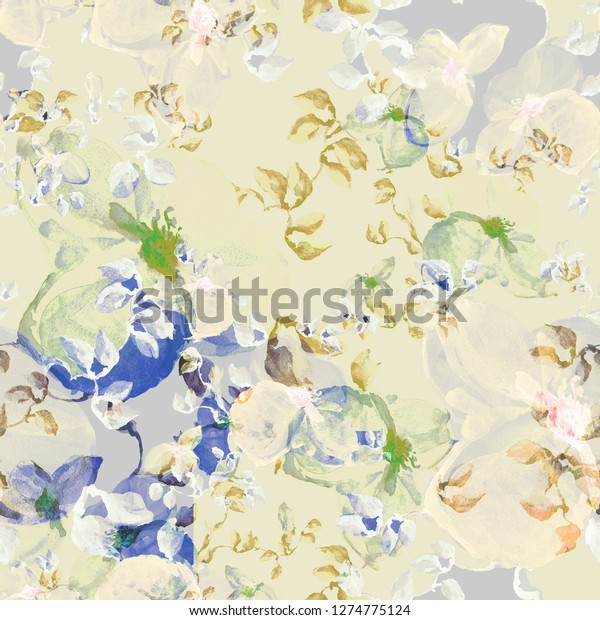 Illustration watercolor field sketches of delicate tropical wildflowers. Seamless pattern. Hand painted. Bouquet on a yellow background. Тhe chinese motive - 01.