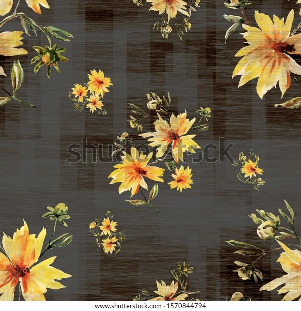 Illustration watercolor. Seamless pattern. Flowers