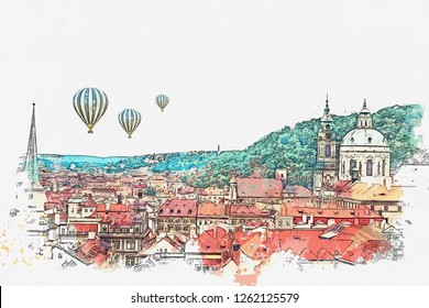 illustration or watercolor sketch. Traditional old architecture in Prague in the Czech Republic. Hot air balloons are flying in the sky.