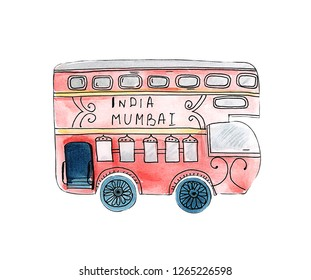 Illustration of a watercolor vehicle drawing an Indian bus for a holiday. Double-decker bus in red.