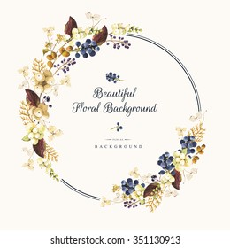 Illustration with watercolor winter berries and plants. Natural floral pattern on a white background. Realistic snowberry, hydrangea, arborvitae and wild grapes. Round frame.