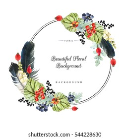 Illustration with watercolor winter berries and plants. Beautiful natural floral composition on white background. Realistic snowberry, feathers, wild rose, grapes and begonia leaves. Round frame.