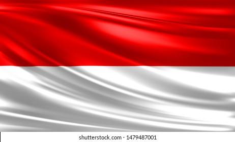 Illustration Waving Flag Of Indonesia