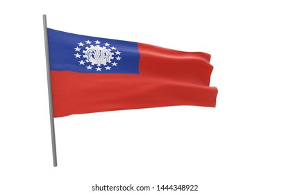 Illustration of a waving flag of Myanmar. the Republic of the Union of Myanmar. 3d rendering.