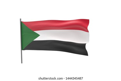 Illustration of a waving flag of Sudan. 3d rendering.