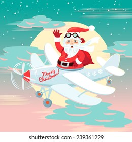 illustration Waving Santa Claus flying on the plane with sack full of presetns. Flat style