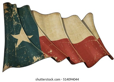Illustration of a Waving, scratched aged Texan flag