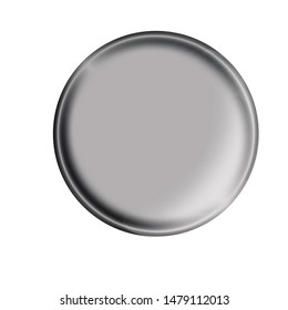 Illustration. Web button with glossy metal brushed surface isolated on white background.