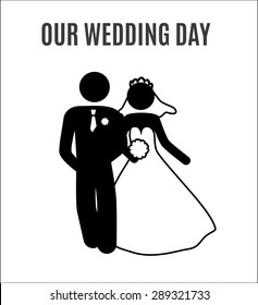 illustration Wedding Bride groom just Married Marry Marriage Icon Symbol Sign Pictogram