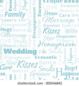 Illustration Of Wedding Or Honeymoon Text Word Seamless Pattern Metaphor To Family Wife