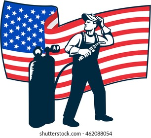 Illustration of welder worker standing with visor up looking to the side holding welding torch with tank viewed from front with usa american stars and stripes flag wavy waving in retro style.